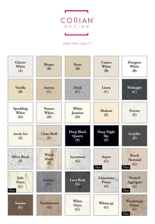 Corian Worktops Colour Portfolio